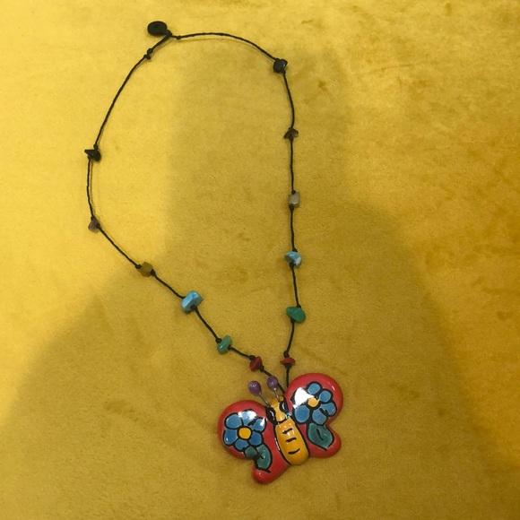 Mexican Handmade Talavera Butterfly Nexklace